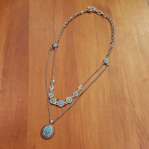 Silver & Turquoise Lucky Brand Layered Necklace